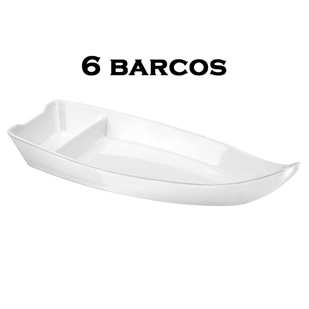 6 BARCA BARCO SUSHI SASHIMI AÇAI MELAMINA BRANCO 41x18x6,7 CM 1,38 L