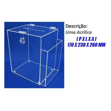 Urna Acrílica Modelo Cubo Pequena com Bolso para Folhetos