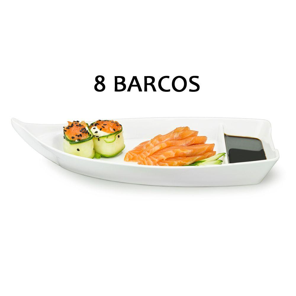 8 BARCA BARCO SUSHI SASHIMI AÇAI MELAMINA BRANCO 26,2 CM 370 ML
