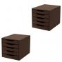 Conj. 2 Caixa Arquivo Gaveteiro em MDF Tabaco com 5 Gavetas Tabaco Referência 3308