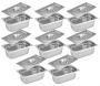CONJ 8 Cubas Gastronômicas Inox GN 1/3X100 mm 3,3 Litros + 8 TAMPAS 1/3 Em INOX Tradicional Originais ZAHAV
