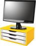 Suporte para Monitor de Mesa em MDF Amarelo com 3 Gavetas Brancas Souza Referência 3356