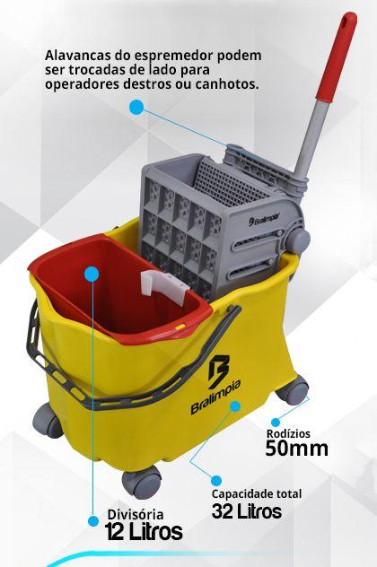 Balde Espremedor Para MOP Úmido DOBLÔ 20 Litros B20FAM Flex AMARELO + MOP Úmido Completo (Cabo + Garra + Refil) + 1 Refil Para Mop Úmido Extra BRALIMPIA