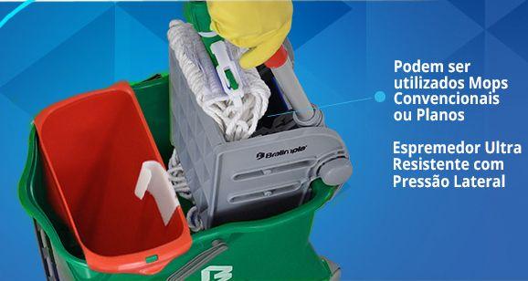 Balde Espremedor Para MOP Úmido DOBLÔ 20 Litros B20FVD Flex VERDE + MOP Úmido Completo (Cabo + Garra + Refil) + 1 Refil Para Mop Úmido Extra BRALIMPIA