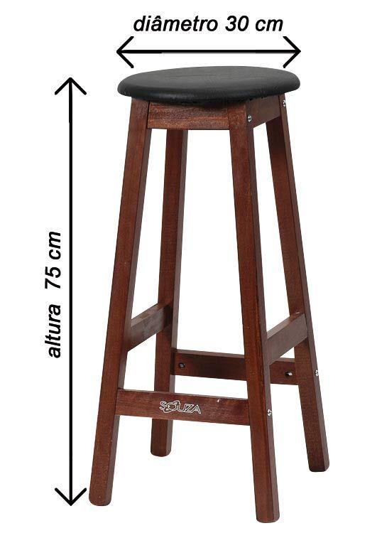 Banqueta Alta Assento ESTOFADO Em MDF 75 cm Para Mesa de Desenho, Cozinha, Bar e Afins Referência 1079
