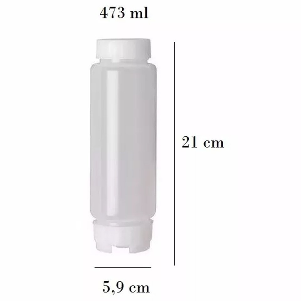 Bisnaga 473 ml (16 Oz) FIFO Bootle Canadá Original Bico NSF Com Válvula Removível AMARELA Para Molhos e Caldas de Consistência Média
