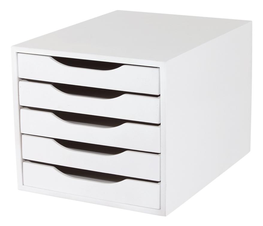Caixa Arquivo Gaveteiro Em MDF Branco Com 5 Gavetas Branco Referência 3306