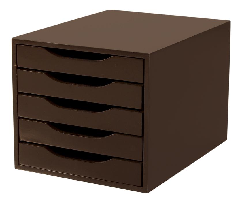 Caixa Arquivo Gaveteiro em MDF Tabaco com 5 Gavetas Tabaco Referência 3308