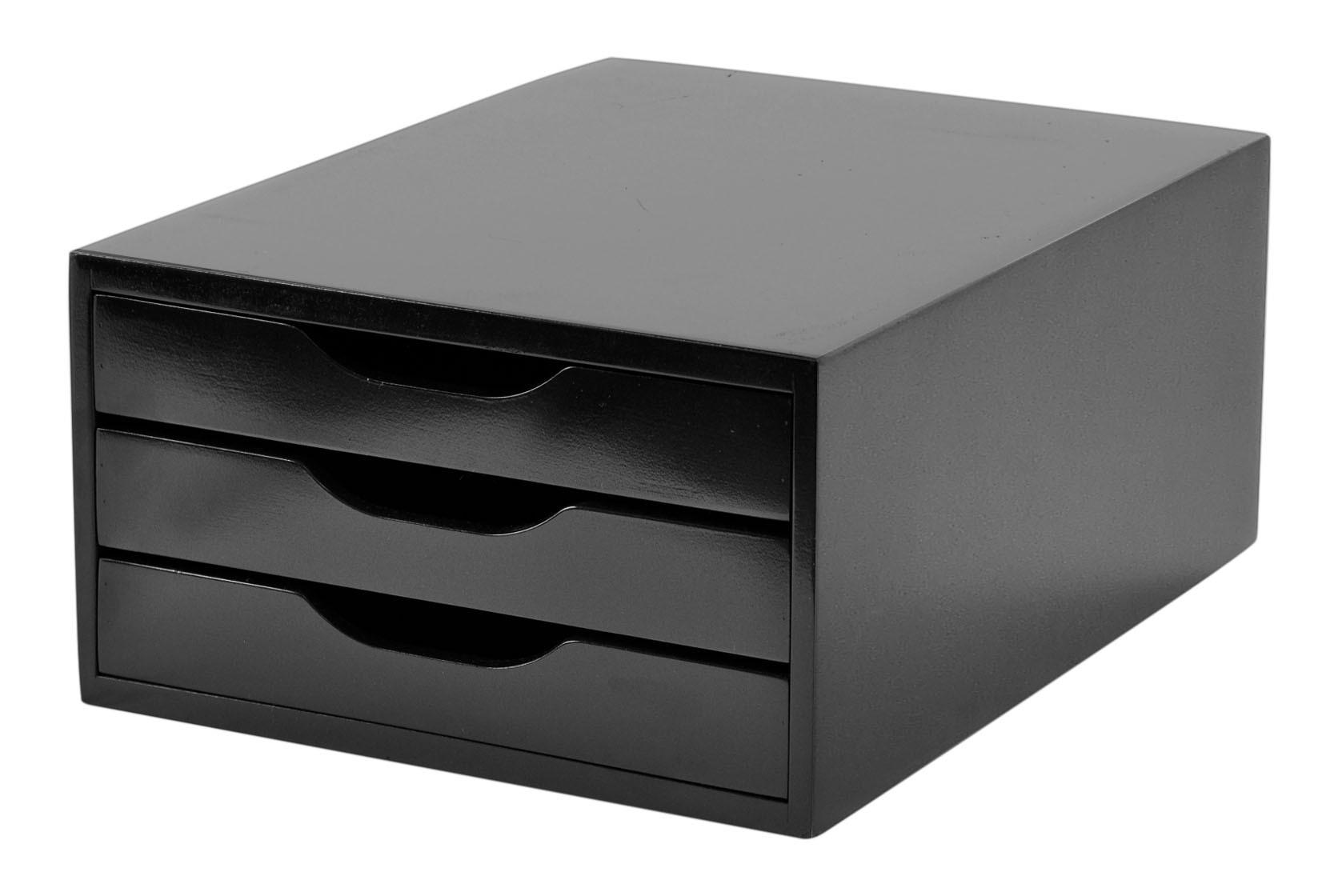 Caixa Arquivo Gaveteiro Em MDF Black Piano Com 3 Gavetas Black Piano Referência 3362 SOUZA