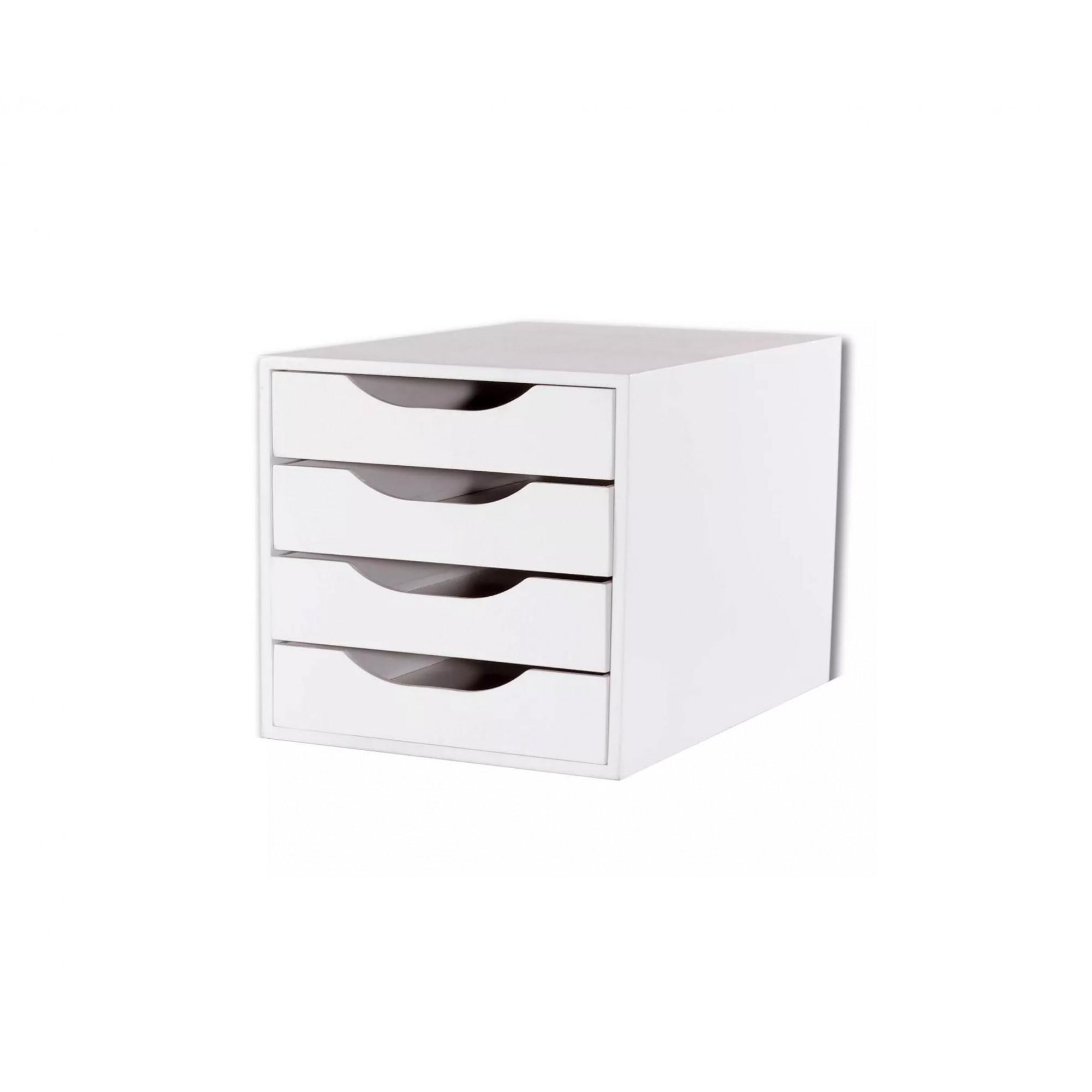 Caixa Arquivo Gaveteiro em MDF Branco com 4 Gavetas Brancas Fundas Souza Referência 3336
