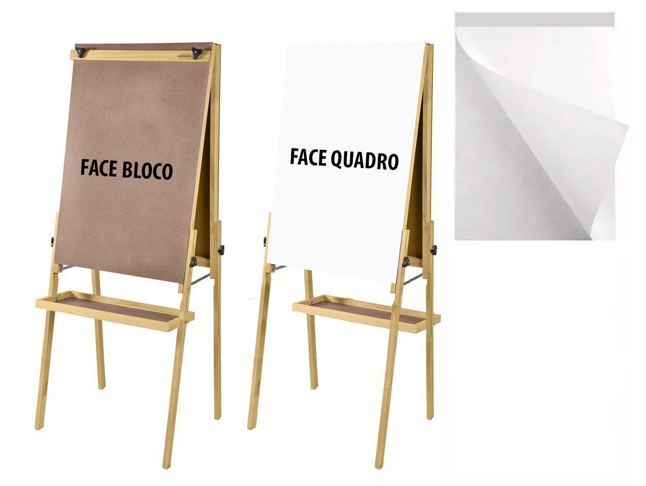 Conj Cavalete Flip Chart Porta Bloco Dupla Face Com Quadro Branco/Duratex Altura Ajustável 1,63/1,72 Metros 2511 Souza + Bloco Flip Chart 50 Folhas