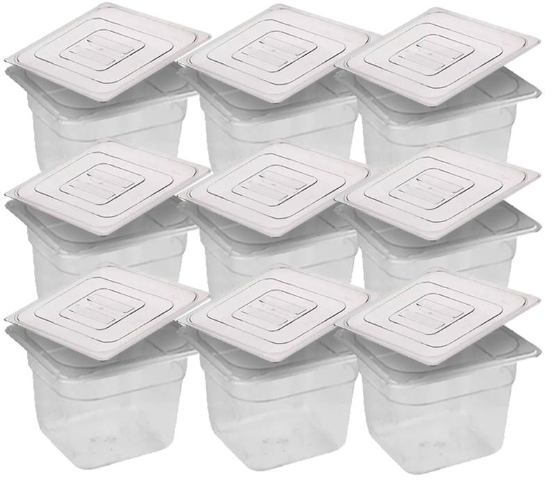 CONJ 10 CUBAS Gastronômicas Em POLICARBONATO GN 1/6X100 mm 1,5 Litros + 10 TAMPAS Em POLI Tradicional Originais CAMBRO