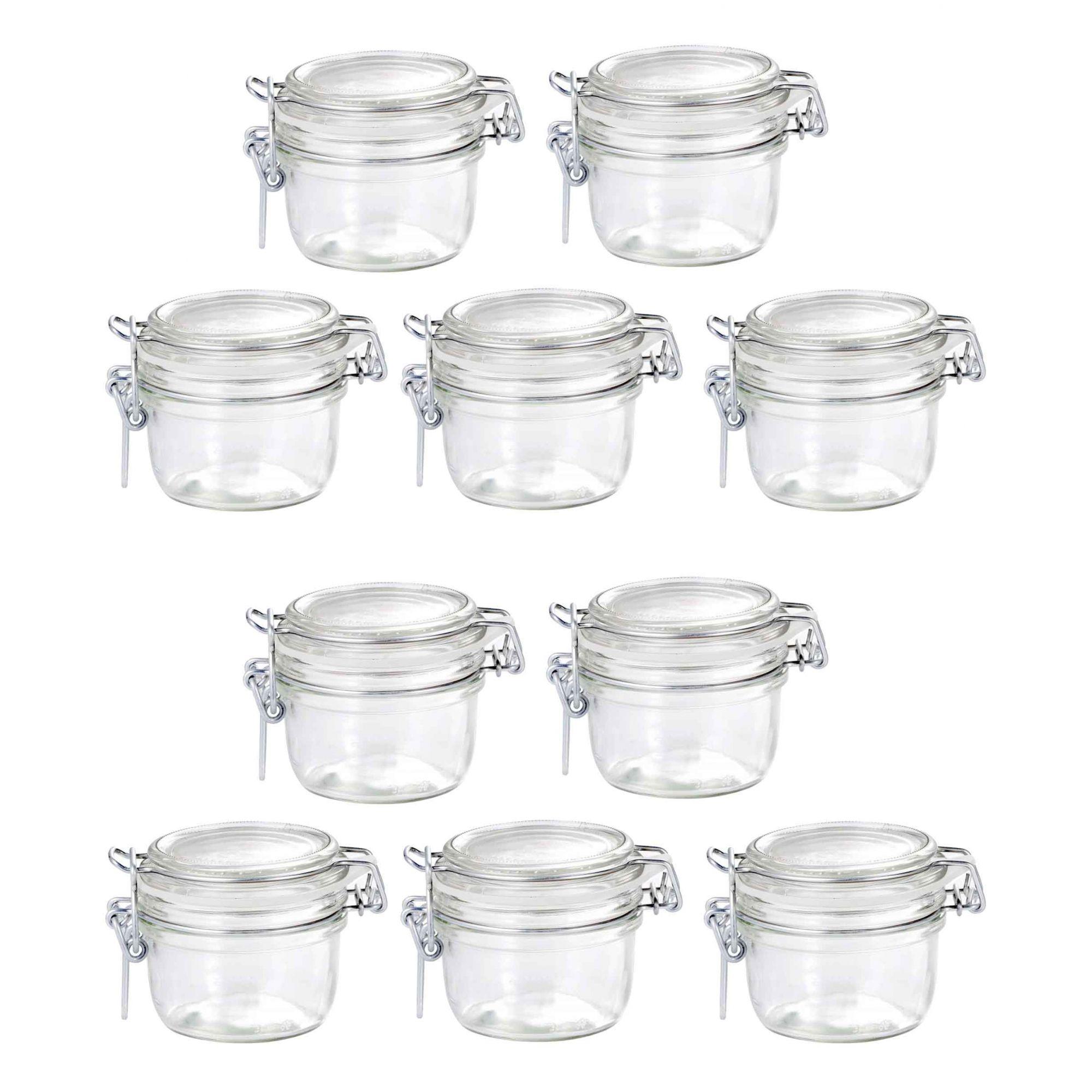 Conj 10 Pote de vidro hermético Fido Terrina 125 ml