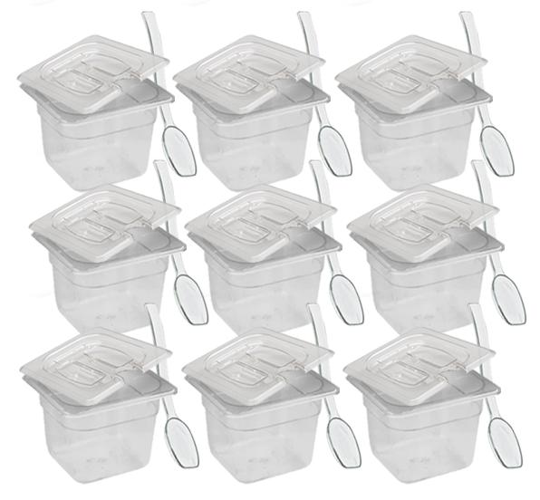 CONJ 12 CUBAS Gastronômicas Em POLICARBONATO GN 1/6X100 mm 1,5 Litros + 12 TAMPA 1/6 Em POLI Com ABERTURA + 12 COLHERES Em Poli Originais CAMBRO