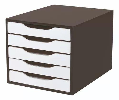 CONJ 2 Caixa Arquivo em MDF Black Piano com 5 Gavetas Brancas Souza Referência 3339