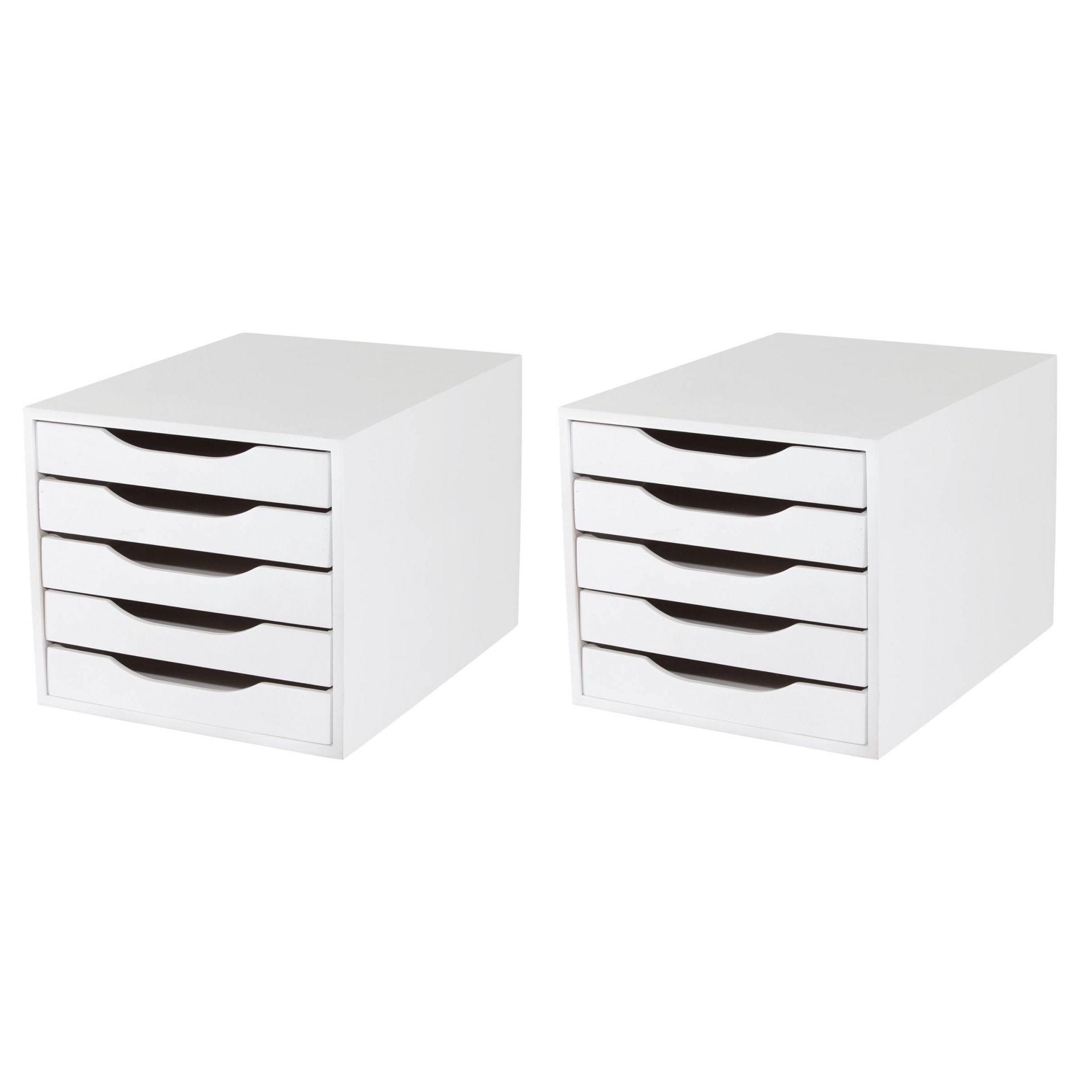 CONJ 2 Caixa Arquivo Em MDF Branco Com 5 Gavetas Brancas - Souza Referência 3306