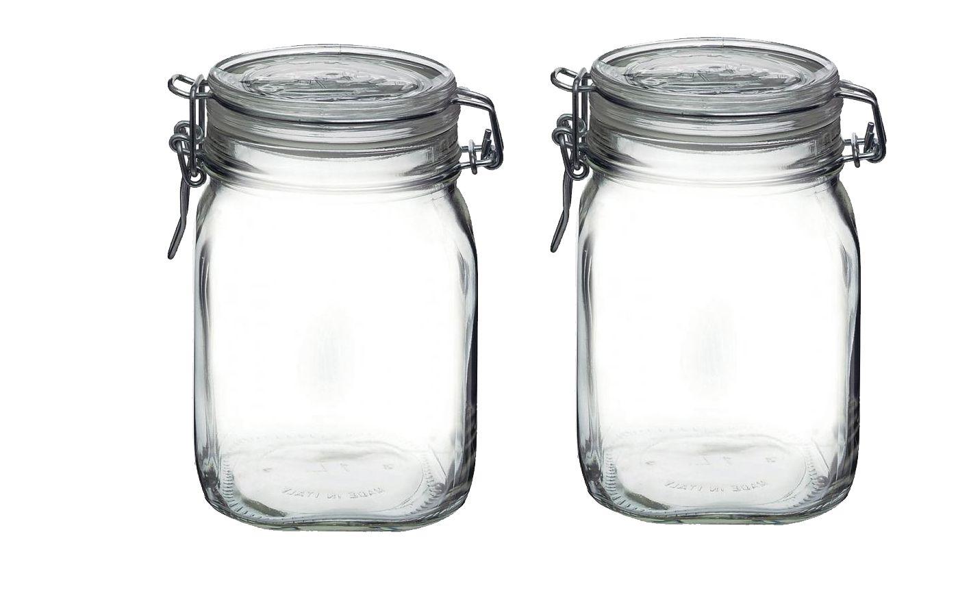 Conjunto Com 2 Potes Herméticos de Vidro Fido Fecho Metal Para Condimentos 1000 ml