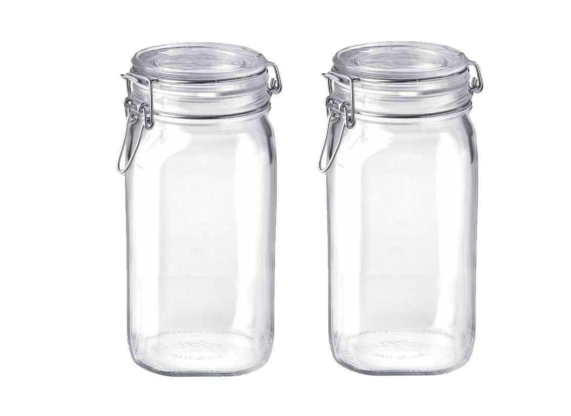 Conj 2 Potes Hermético de Vidro Fido Terrina Original Fecho Metal Para Condimentos 1500 ml