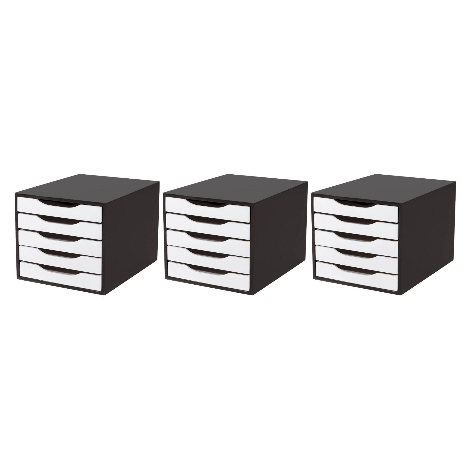 CONJ 3 Caixa Arquivo em MDF Black Piano com 5 Gavetas Brancas Souza Referência 3339