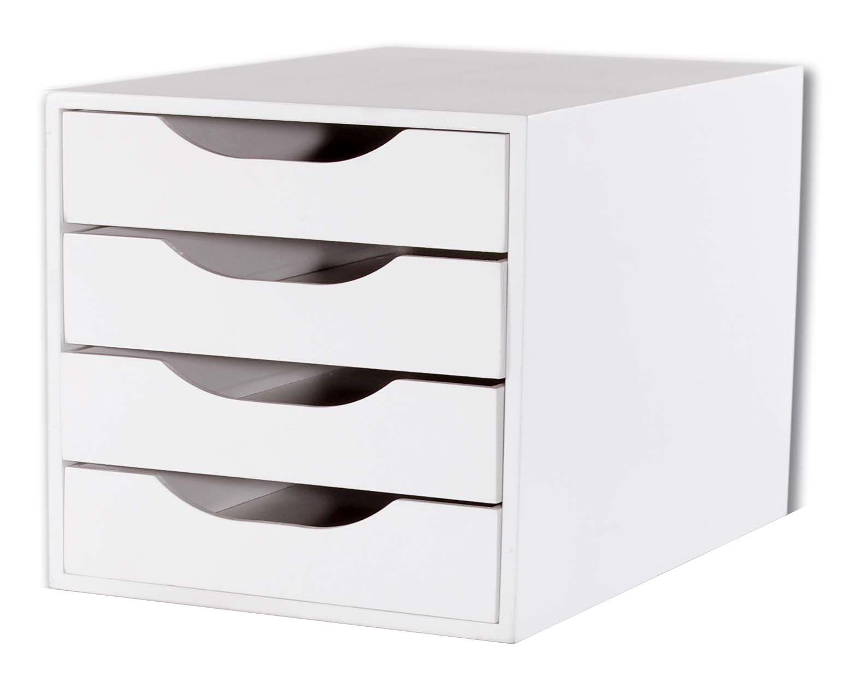 Conj 3 Caixa Arquivo Gaveteiro em MDF Branco com 4 Gavetas Brancas Fundas Souza Referência 3336