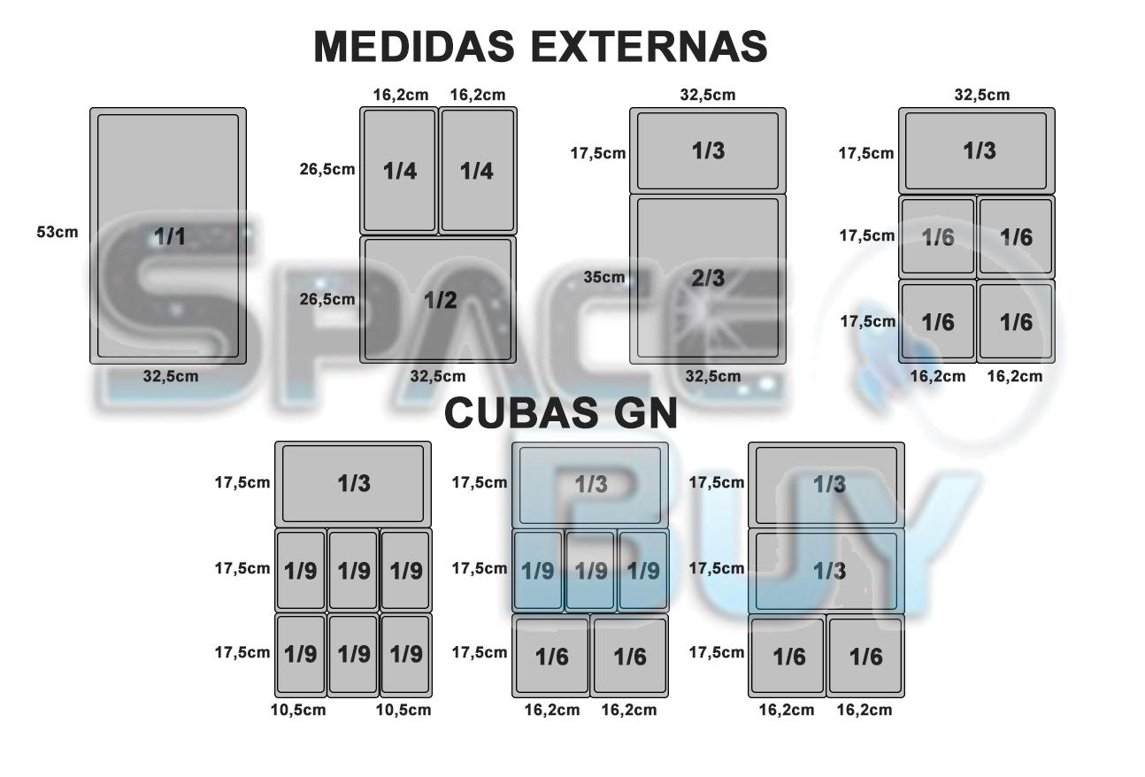CONJ 3 CUBAS Gastronômica Em INOX GN 1/6x65 mm 1 Litro + 3 TAMPAS Em INOX Tradicional Originais ZAHAV