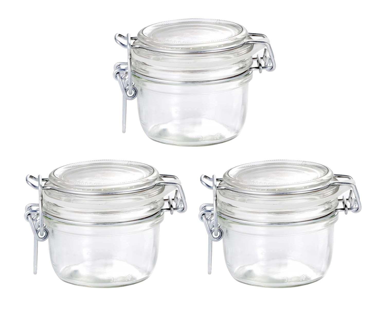 Conj 3 Pote de vidro hermético Fido Terrina 125 ml