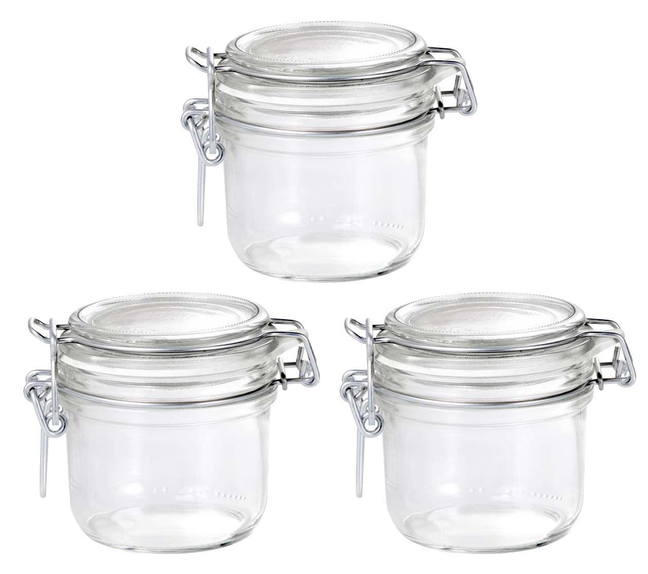 Conj 3 Pote de vidro hermético Fido Terrina 200 ml Ø 83 mm