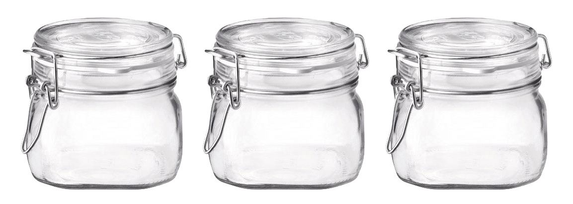 Conj 3 Pote Hermético de Vidro Fido Terrina Original Fecho Metal Para Condimentos 500 ml