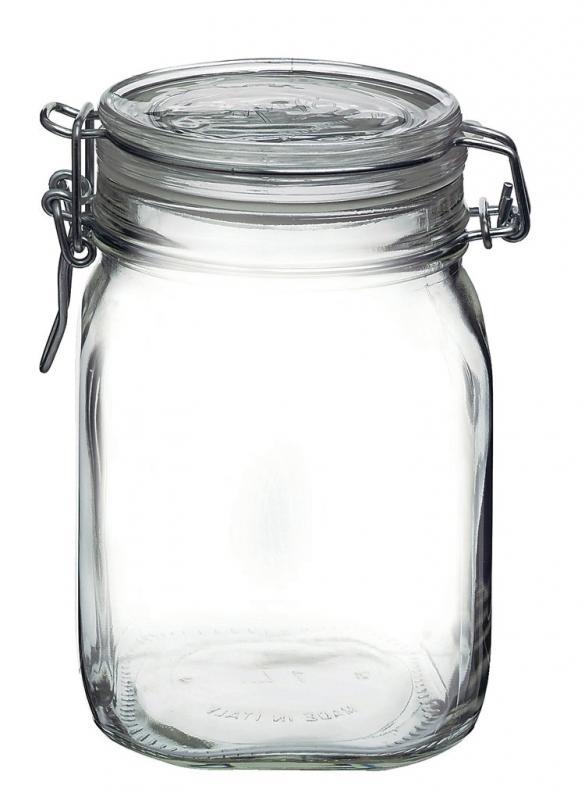 Conj. 3 Potes Hermético De Vidro Fido Fecho Metal Para Condimentos 1000 ml