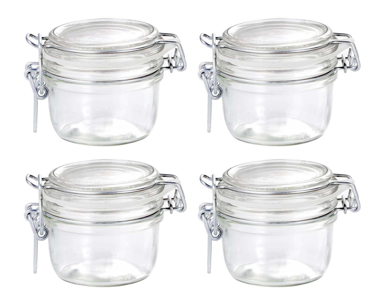 Conj 4 Pote de Vidro Hermético Fido Terrina Original 125 ml Para Temperos, Molhos e Afins