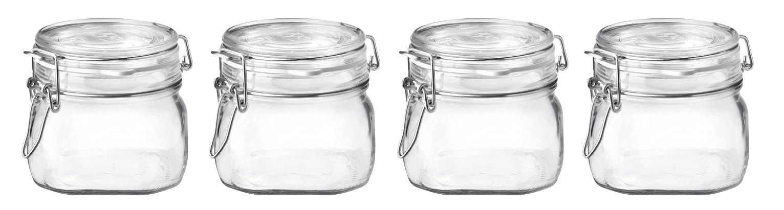 Conj 4 Pote Hermético de Vidro Fido Terrina Original Com Fecho de Metal Para Condimentos e Afins 500 ml
