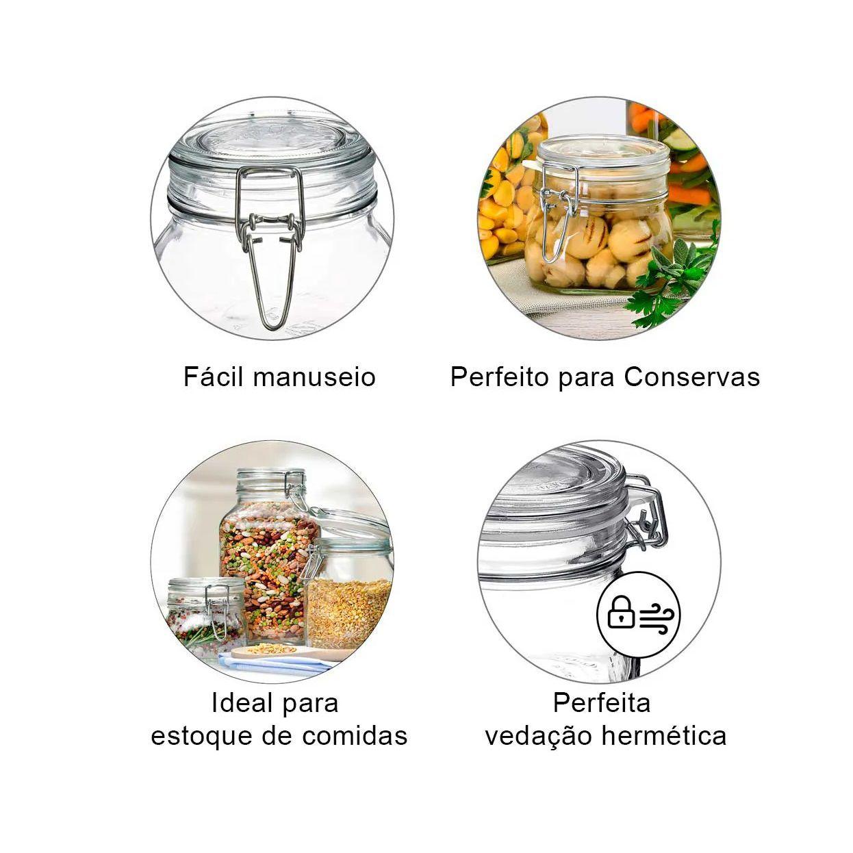 Conj 4 Potes Hermético de Vidro Fido Terrina Original Fecho Metal Para Condimentos 1500 ml