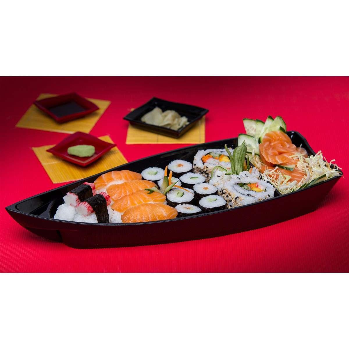 Conj 5 Barca Barco Sushi Açai Polipropileno PP Peq Preta 27x14 cm 600 ml
