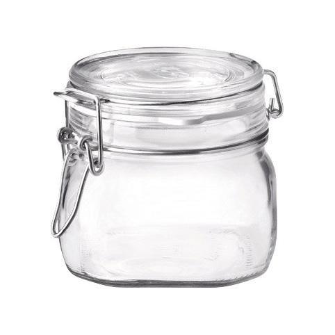 Conj 5 Pote Hermético de Vidro Fido Terrina Original Fecho Metal Para Condimentos 500 ml