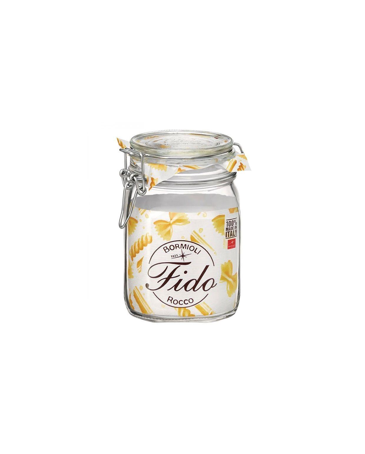 Conj. 5 Potes Hermético de Vidro FIDO Terrina Original Fecho Metal Para Condimentos 1000 ml