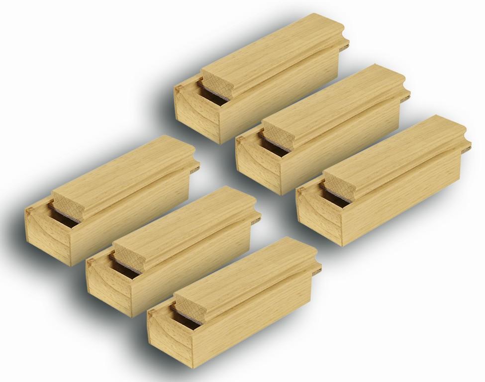 CONJ 6 Apagador com depósito Porta Giz Pinus Natural 18x7x5,5CM - R2815 Souza