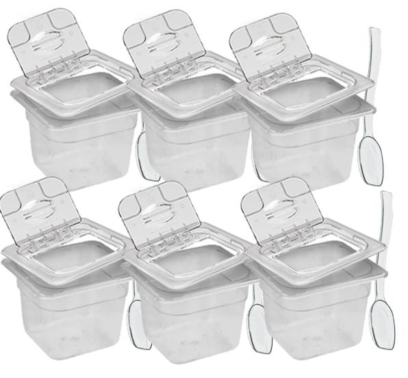 Conj 6 Cuba Gastronômica Policarbonato GN 1/6X100 mm 1,5L com Tampa com Dobradiça e Abertura + Colher 20 cm