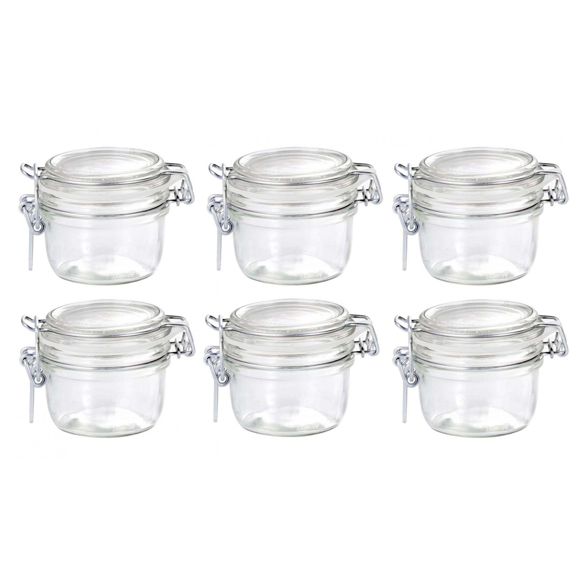 Conj 6 Pote de vidro hermético Fido Terrina 125 ml