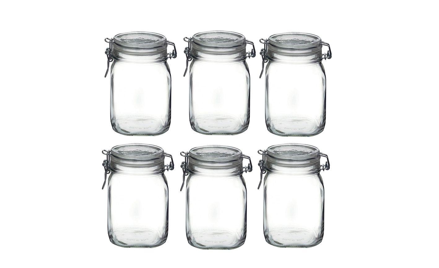 CONJ 6 Potes Hermético De Vidro Fido Fecho Metal Para Condimentos 1000 ml