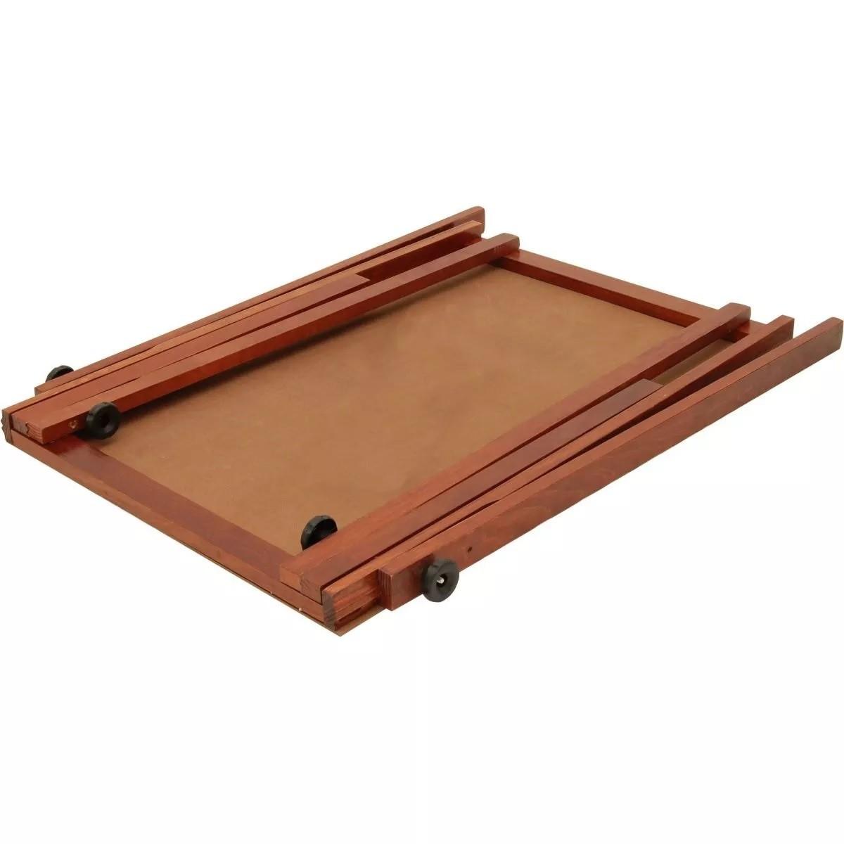 Conj Cavalete Flip Chart Porta Bloco Compacto Com Quadro Duratex Em Madeira Pinus Natural Ajustável 1,63 ou 1,72 Metros Souza 2509 Souza + 1 Bloco Flip Chart 50 Folhas