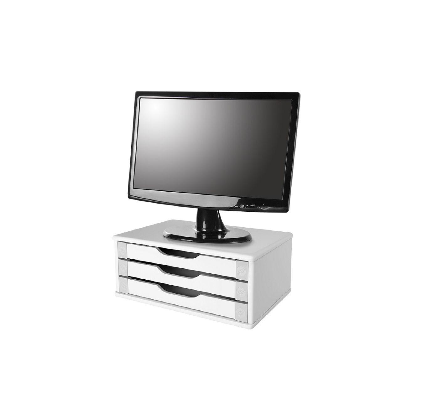 Conj Com 2 Suportes Para Monitor de Mesa Em MDF Branco Com 3 Gavetas Brancas Souza Referência 3343
