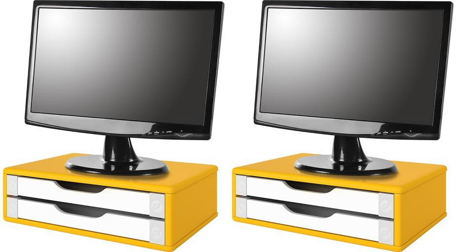Conj com 2 Suportes para Monitor em MDF Amarelo com 2 Gavetas Souza Referência 3351