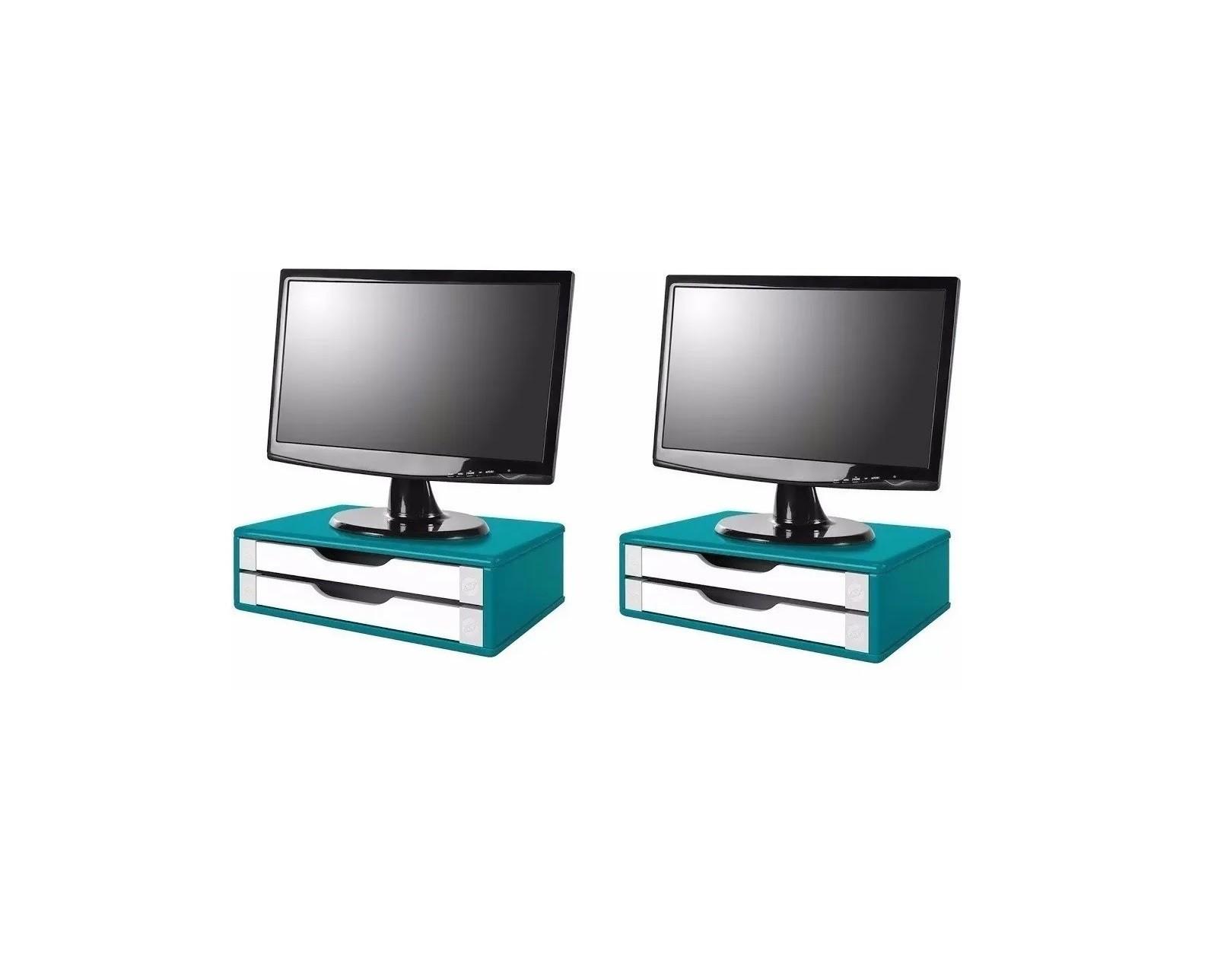 Conj com 2 Suportes Para Monitor em MDF Azul com 2 Gavetas Brancas Souza Referência 3352