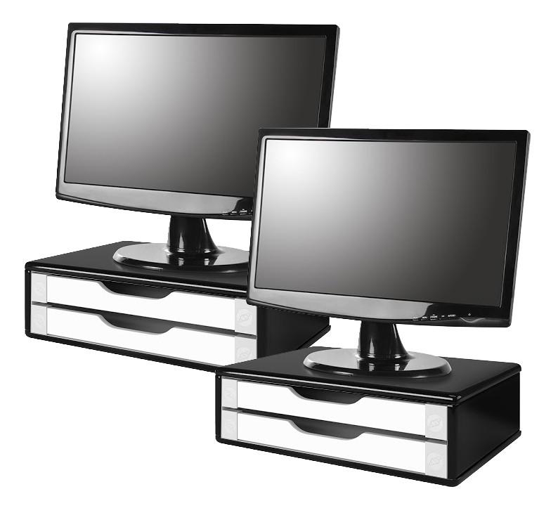 Conj com 2 Suportes para Monitor em MDF Black Piano com 2 Gavetas Brancas Souza Referência 3348