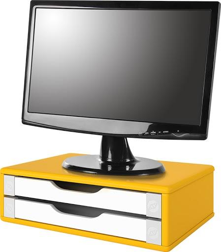 Conj com 3 Suportes Para Monitor em MDF Amarelo com 2 Gavetas Brancas Souza Referência 3351