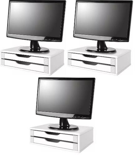 Conj com 3 Suportes Para Monitor em MDF Branco com 2 Gavetas Brancas Souza Referência 3340