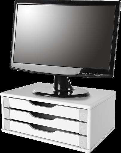 CONJ Com 3 Suportes Para Monitor Em MDF Branco Com 3 Gavetas Brancas Souza Referência 3343