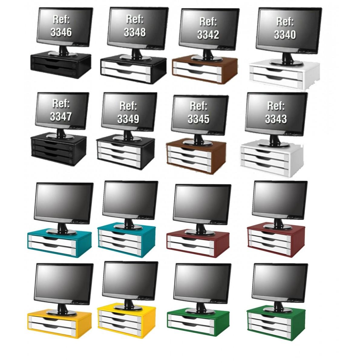 Conj com 4 Suportes Para Monitor em MDF Black Piano com 2 Gavetas Black Piano Referência 3346