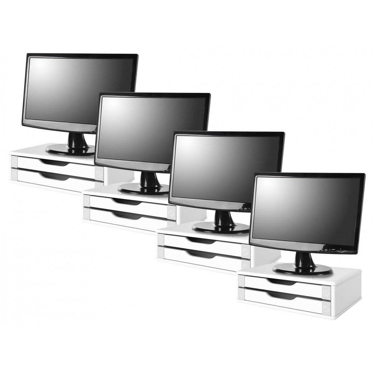 Conj com 4 Suportes Para Monitor em MDF Branco com 2 Gavetas Brancas Souza Referência 3340
