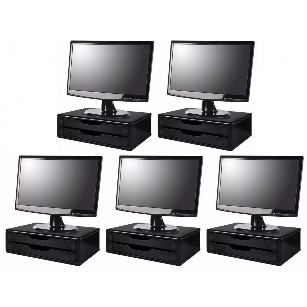 Conj com 5 Suportes Para Monitor em MDF Black Piano 2 Gavetas Black Piano Souza Referência 3346